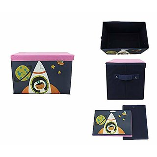 AVMART Foldable  Portable Black Spaceship Rocket 2in One Storage Box,Laundry Organiser Cum Sitting Stool with Lid Cover