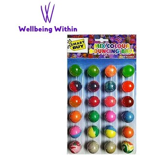 Wellbeing Within Crazy Bouncy Jumping Balls (Multi colour texture)- Set of 24