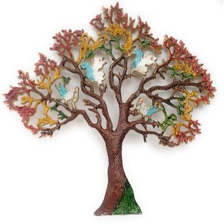 NxTdooR India Metal Handmade Golden Colorful Tree of Prosperity/Wall Hanging / with Birds- 44 CM X 44CM Pack of 1