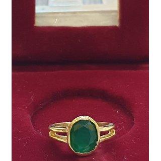 Natural Emerald Ring gold plated panna stone Ring Jaipur Gemstone