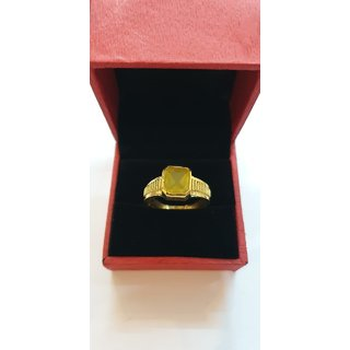 Natural Pukhraj Ring Yellow Sapphire Stone gold plated ring Jaipur Gemstone