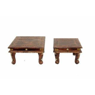Shilpi Wooden Handicraft Amazing Chowki Set of 2 PCs/Wooden Chowki for Home Decor Size Large  Mediam
