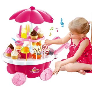 Smartcarft Ice Cream Kitchen Play Cart Kitchen Set Toy With Lights And Music -Small