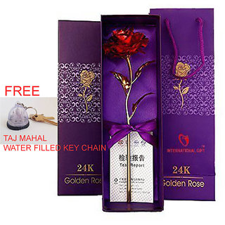 24k Gold Plated Rose With Purple Box 06