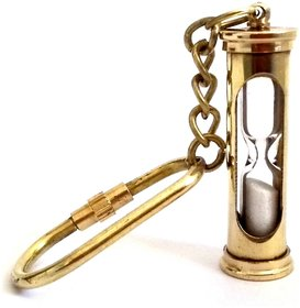 Antique Nautical Brass Metal Sand Timer Hourglass Keychain