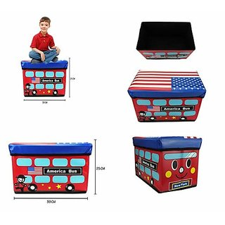 AVMART Foldable  Portable America Bus 2 in One Storage Box, Laundry Organiser Cum Sitting Stool with Lid Cover