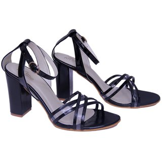 3d6cfbd7f74 AnShe Girls   Women s Patent Leather Transparent Cross Design Peep Toe 4  inch Block Heel Fashion