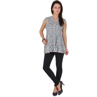 Voila Women's Cotton Blouse (Blue_S)