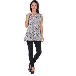 Voila Women's Cotton Blouse (Grey_S)
