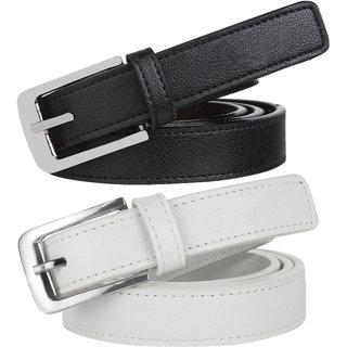 Styles Creation Women's Stylish, Designer Combo Of Black  White Synthetic Leather Belt (BELTLD36)