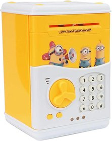 SHRIBOSSJI Electronic Piggy Bank ATM Password Lock Money Safe for Coins and Notes Collecting - YELLOW Coin Ban