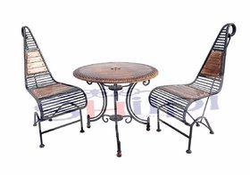 Shilpi Wooden  Iron Carved Decorative Folding Table with 2 Chair Set / Garden Coffee Set