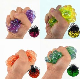 6th Dimensions Grape Ball Stress Relief Squeeze Hand Wrist Toy Balls - Set of 5 (Multicolour)