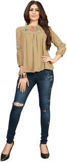 FASHION CARE presents embroidered long pattern Beige color rayon flex fabric top for women's in western wear fashion