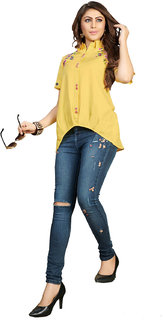 FASHION CARE presents embroidered designer pattern Light Yellow color rayon flex fabric top for women's in western wear fashion