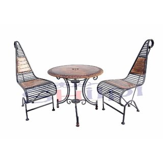 Shilpi Wooden Iron Carved Decorative Folding Table With 2 Chair Set Garden Coffee