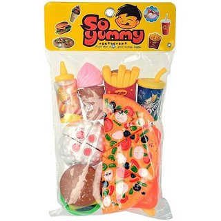 SHRIBOSSJI Fast Food Toy Pizza Cutting Pretend Play Set With Chopping Board, knife and Fork