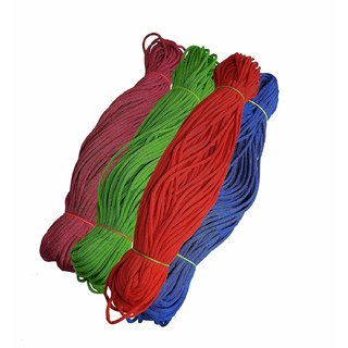 Happycraft Set of 4 Nylon 2mm Macrame Cord (60 Meters Each Cord) 6 ply Nylon Knotting Poly Propylene Cord for Macrame.