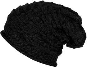 Black Long Woolen Beanie