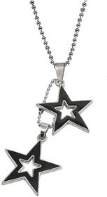 Sullery Rock Star Twice Star Pendant With Chain  Black And Silver  Zinc AlloyMetal Star Pendant Necklace