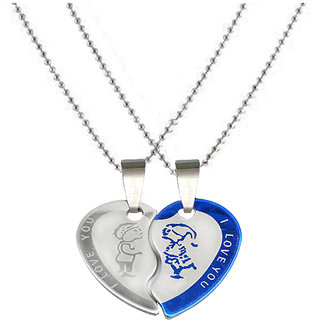 Sullery Couple Lovers Heart I Love You Jewelry For Friendship Gift  Blue And Silver  Stainless Steel