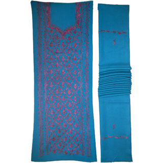 Kashmiri Woolen Ladies Dress material Woolen With Shawal (free size 529) Elegent Hand Ari Embroidery Dabba Jaal Design