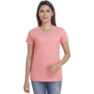 Lango Regular Fit Hosiery Peach Color T-shirt For Womens