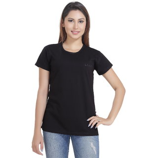 Lango Regular Fit Hosiery Black Color T-shirt For Womens