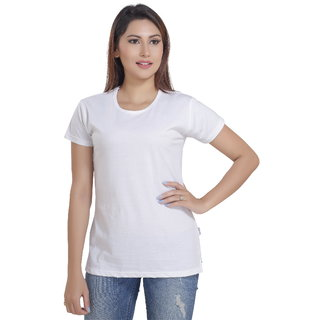 Lango Regular Fit Hosiery White Color T-shirt For Womens