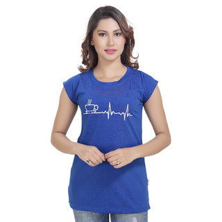 Lango Regular Fit Hosiery Blue Color T-shirt For Womens