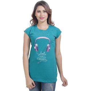 Lango Regular Fit Hosiery Green Color T-shirt For Womens