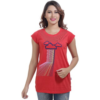 Lango Regular Fit Hosiery Red Color T-shirt For Womens