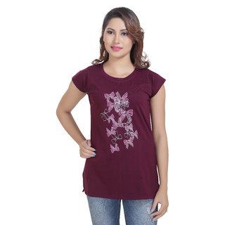 Lango Regular Fit Hosiery Purple Color T-shirt For Womens