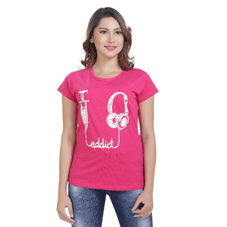 Lango Regular Fit Hosiery Pink Color T-shirt For Womens