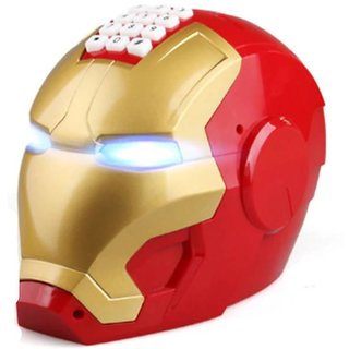 SHRIBOSSJI Electronic Iron Man Password Piggy Bank Cash Coin Can Auto Scroll Paper Money Saving Box Coin Bank