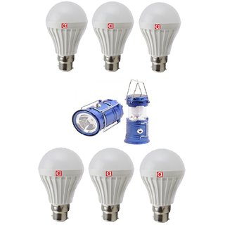 Alpha Home Illuminating Led Bulb Of 7 Watt Pack of 6 with Free Solar Rechargable Larnten