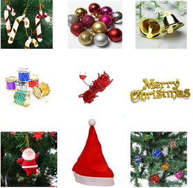 12 pcs combo with Christmas Cap, Red Rice Light and Tree Decorations Set (Balls, Bells, Gifts, Drums, Candy Sticks  San