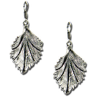 Antique Silver Platted Leaf Earring