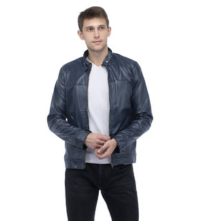 Lambency Men's Navy Biker Jackets