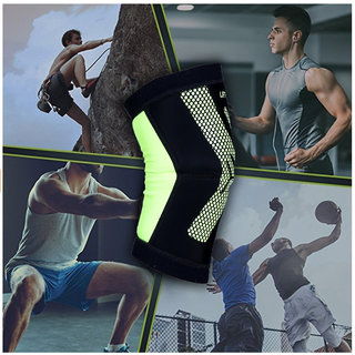 LIFT MORE PREMIUM KNEE SUPPORT - Best Nylon Stabilizer Brace for Crossfit (One Pair)(Large)