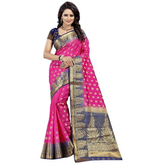 Dwarkesh Fashion Pink Color Banarasi Silk Saree With Blouse Piece (PAN BUTTI PINK)