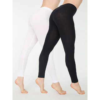 Cotton Lycra Leggings - Pack of 2 Black/White