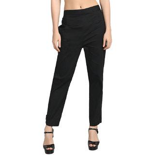 Jollify Black Cotton Lycra Flat Front Stretchable Trousers