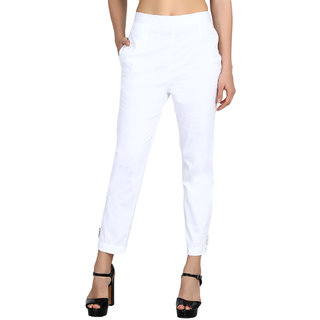 Jollify White Cotton Lycra Flat Front Stretchable Trousers