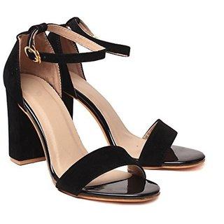 f5ae4f0ffd66 Buy AnShe Girls   Women s Velvet Leather Peep Toe 4 inch Block Heel Fashion  Sandals   Footwears Online - Get 45% Off