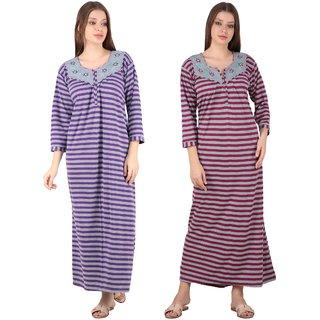 Kismat Fashion Winter Wear Woolen Hosiery Multi Color Long Nighty Pack Of 2