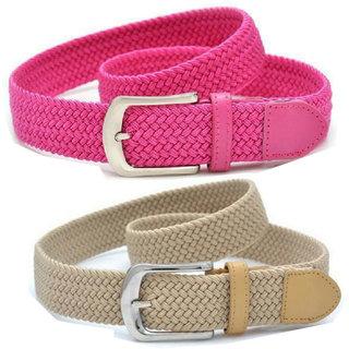 Styles Creation Women's Stylish, Designer Combo Of Pink  Beige Stretchable Elastic Belt (BELTLD37)