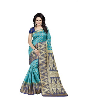 Dwarkesh Fashion Rama Color Banarasi Silk Saree With Blouse Piece (RUBY RAMA)