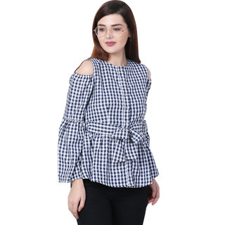 5bdf8beedc2ff Buy Blue and White Check Cold Shoulder Top Small Size Online - Get 55% Off