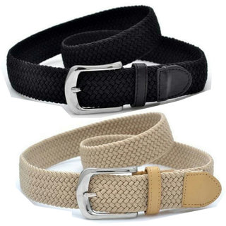 Styles Creation Women's Stylish, Designer Combo Of Black  Beige Stretchable Elastic Belt (BELTLD38)